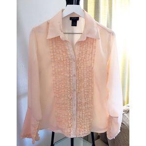 3/$20 Milano Women Long Sleeve Ruffle Blouse Large